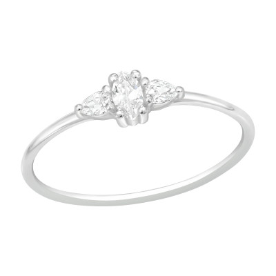 Silver Geometrical Ring with Cubic Zirconia