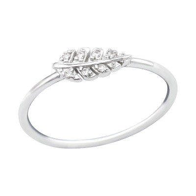 Silver Leaves Ring with Cubic Zirconia