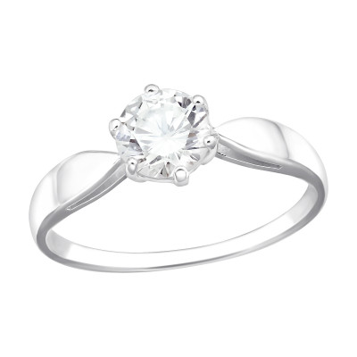 Silver Solitaire Ring with Cubic Zirconia