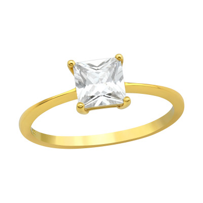 Silver Square Ring with Cubic Zirconia