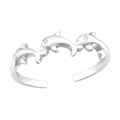 Silver Dolphin Ring with Cubic Zirconia