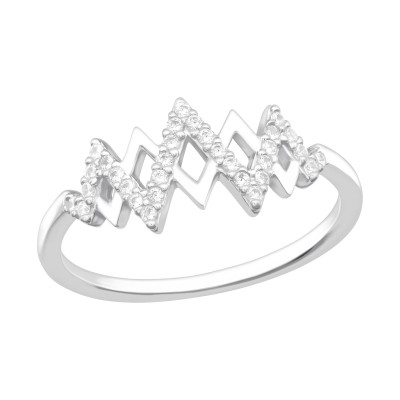 Silver Heartbeat Ring with Cubic Zirconia