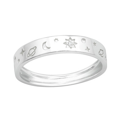 Silver Star and Moon Ring with Cubic Zirconia