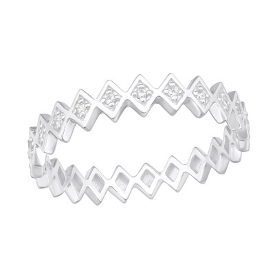 Silver Geometric Ring with Cubic Zirconia