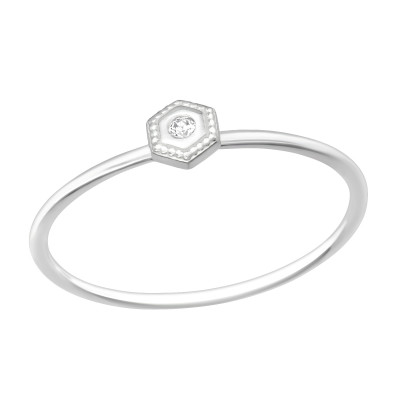 Silver Hexagon Ring with Cubic Zirconia
