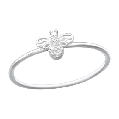 Silver Bee Ring with Cubic Zirconia