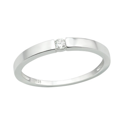 Silver Single Stone Ring with Cubic Zirconia