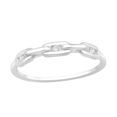 Silver Chain Ring with Cubic Zirconia