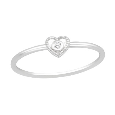 Silver Heart Ring with Cubic Zirconia