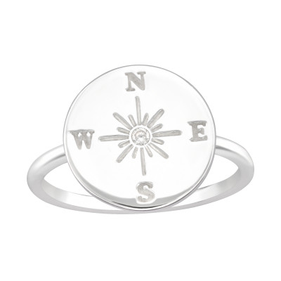 Silver Compass Ring with Cubic Zirconia