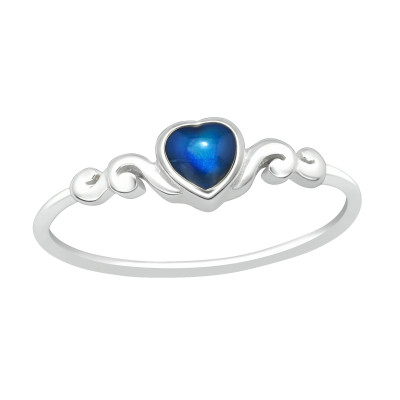 Silver Heart Ring with Mood Color Epoxy