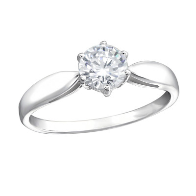 Silver Round Ring with Cubic Zirconia