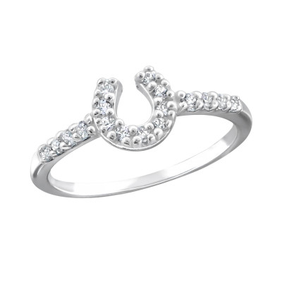 Silver Horseshoe Ring with Cubic Zirconia