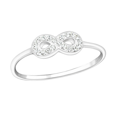 Silver Infinity Ring with Crystal