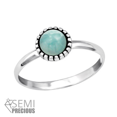 Silver Round Ring with Amazonite