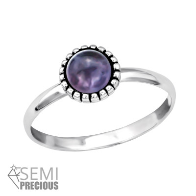 Silver Round Ring with Amethyst