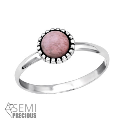 Silver Round Ring with Rhodonite