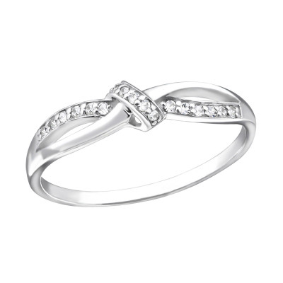 Silver Knot Ring with Cubic Zirconia