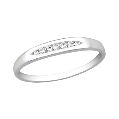 Silver Band Ring with Cubic Zirconia