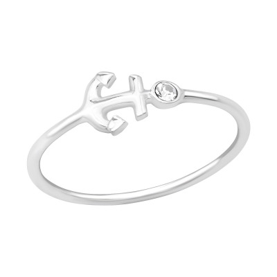 Silver Anchor Ring with Crystal