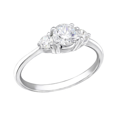 Silver Rounds Ring with Cubic Zirconia