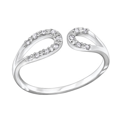 Silver Drop Ring with Cubic Zirconia