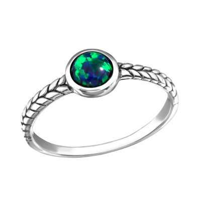 Silver Oxidized Ring with Peacock Opal