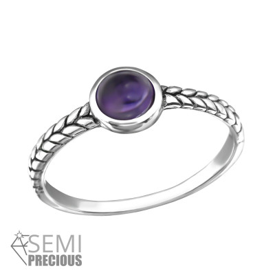 Silver Oxidized Ring with Amethyst