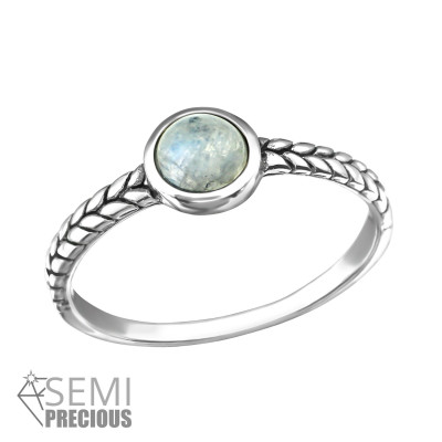 Silver Oxidized Ring with Rainbow Moonstone