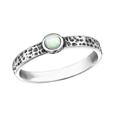 Silver Hammered Ring with Fire Snow