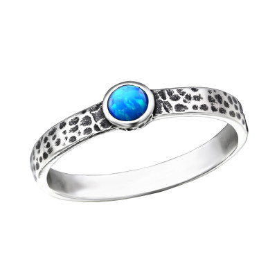 Silver Hammered Ring with Pacific Blue