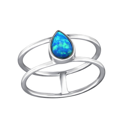 Silver Pear Ring with Pacific Blue