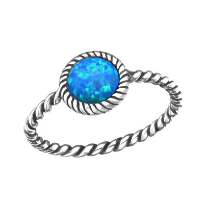 Silver Twisted Band Ring with Pacific Blue