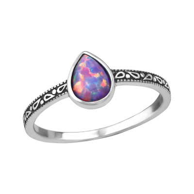 Silver Pear Ring with Multi Lavender