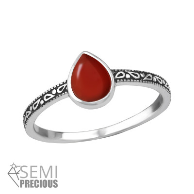 Silver Tear Drop Ring with Red Onyx