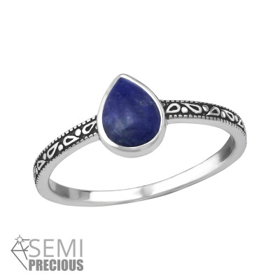 Silver Pear Ring with Sodalite