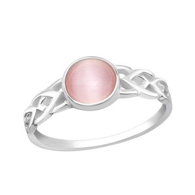 Silver Round Ring with Light Pink Cat Eye