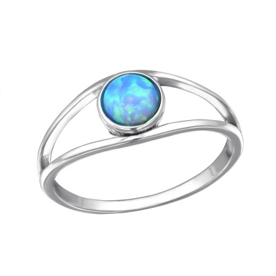 Silver Double Line Ring with Azure