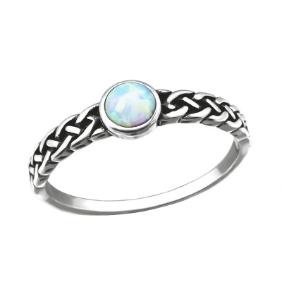 Silver Braided Ring with Fire Snow