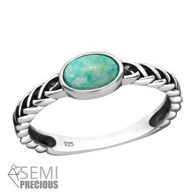 Silver Oval Ring with Amazonite
