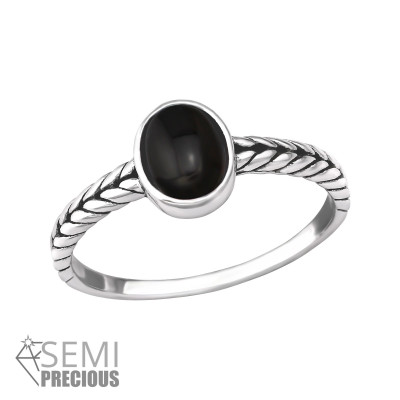 Silver Braided Ring with Black Onyx