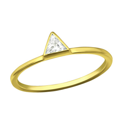 Silver Triangle Ring with Cubic Zirconia