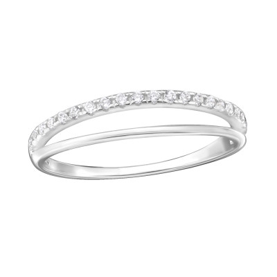 Silver Double Line Ring with Cubic Zirconia