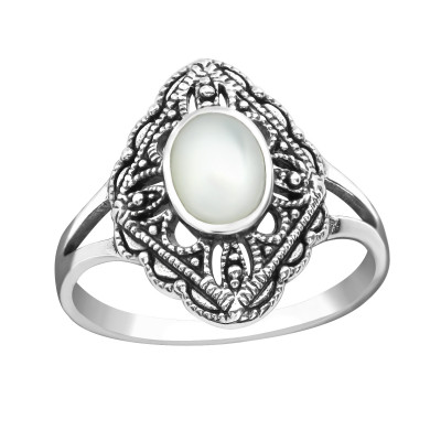 Silver Antique Ring with Imitation White