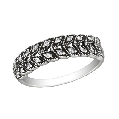 Silver Olive Branch Ring with Cubic Zirconia