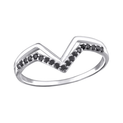 Silver V Shaped Ring with Black Spinel