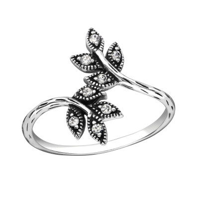 Silver Leaf Ring with Cubic Zirconia