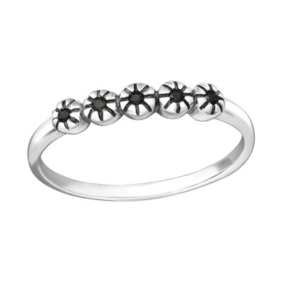 Silver Stackable Ring with Black Spinel