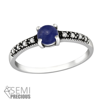 Silver Solitaire Ring with Cubic Zirconia and Sodalite