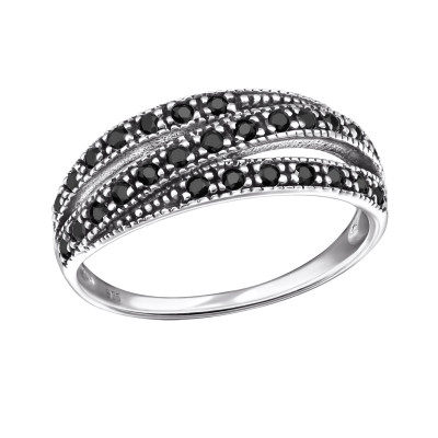 Silver Intertwining Ring with Black Spinel
